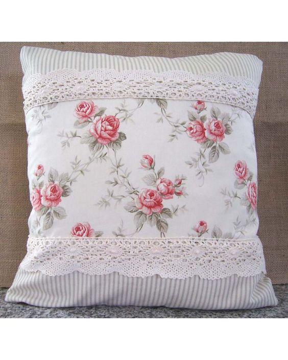 sweet ~ shabby roses, ticking stripe fabric & lace.