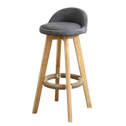 Chy Solid Wood Bar Stool Rotate Breakfast Bar Chair Low Back Linen High Stool Home Kitchen 90 110cm Counter B Breakfast Bar Chairs Wood Bar Stools High Stool