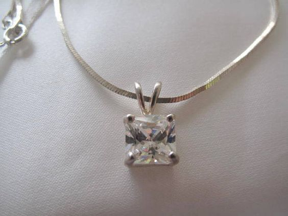 CZ Pendant with Sterling Silver Chain by mimiyaya on Etsy, $24.00