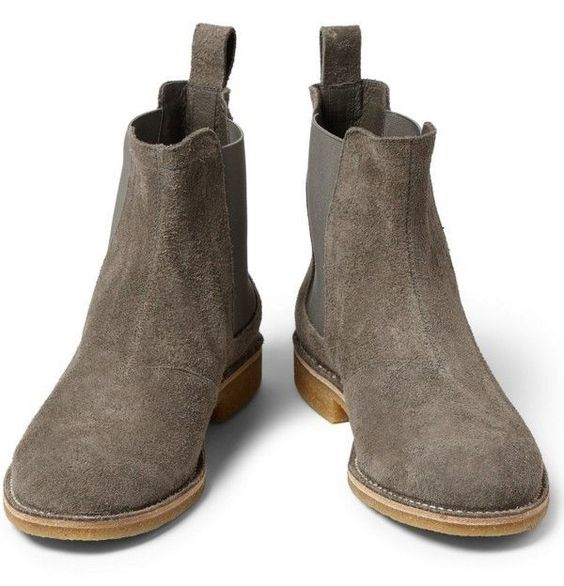 Handmade mens gray color chelsea suede leather boots, Men gray suede boots #Handmade #Chelsea