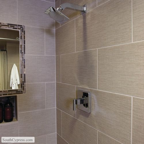 Unique However, Adding Tile To A Kitchen Or Bathroom Is A Fresh  The Capella Collection, Such As Taupe Porcelain Tile This Soft Gray And Taupe Bricklook Is Used As An Accent Stripe In The Shower And Then Repeated From The Floor To The Ceiling