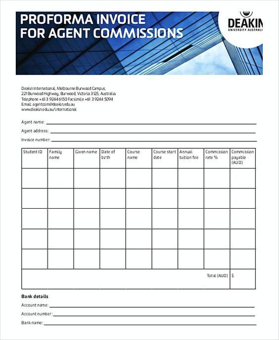 Proforma Invoice Agent Commission Proforma Invoice Template