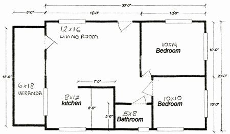 24 X 30 2 Bedroom House Plans New Cottage Plans 24 X 30 Home Deco Plans 20x30 House Plans Cottage Floor Plans Guest House Plans