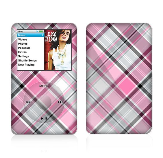 The Black and Pink Layered Plaid V5 Skin For The Apple iPod Classic