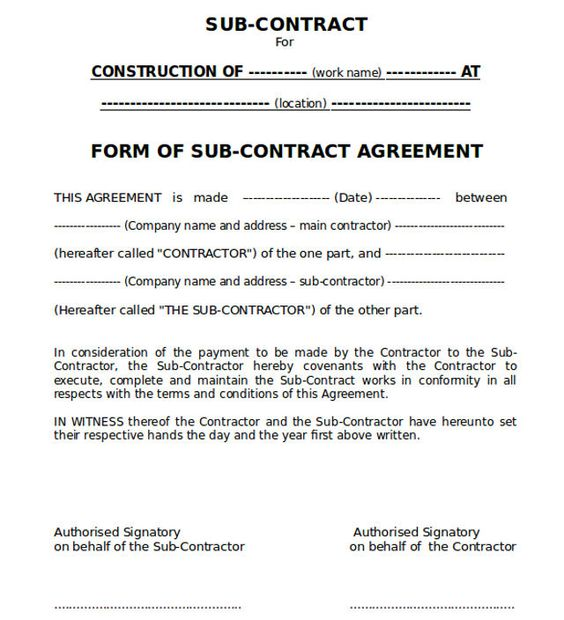 Sub-contract Agreement Form Ideas for the House Pinterest - subcontractor contract template