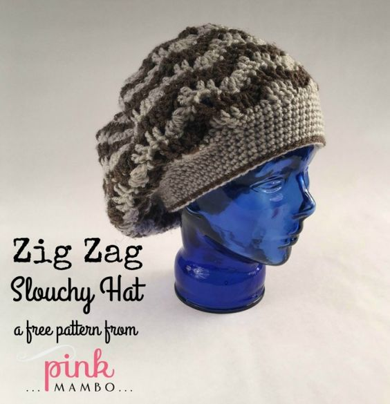 Free Crochet Zig Zag Hat Pattern : Cream Of The Crop Crochet ~ Zig Zag Slouchy Hat ~ Pink ...