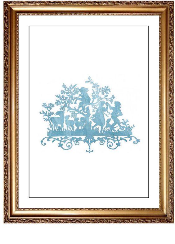 Blue Watercolor Whimsical Fairy Tale Print Art by JoshandDavids
