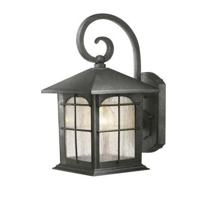 hampton bay 1 light aged iron outdoor wall lantern
