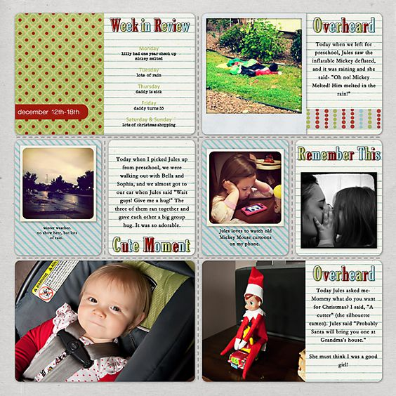 I am doing project life and I liked this layout.  The idea with the week in review and her categories of cute momement... were pretty good ideas