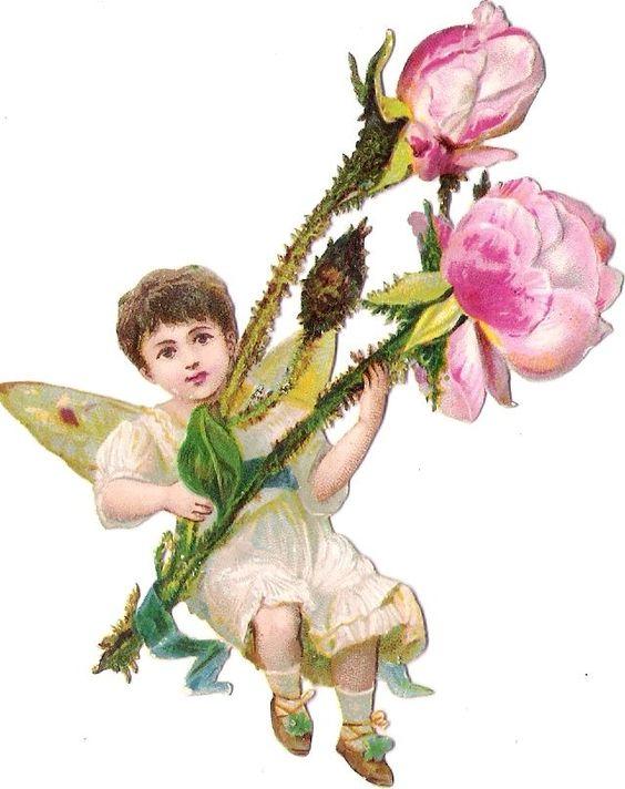 Oblaten Glanzbild scrap die cut Elfe 10,4cm Kind Flügel Engel Blume Rose Mädchen: