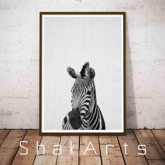 Zebra Print Nursery Decor Safari Animals Safari by ShakArts
