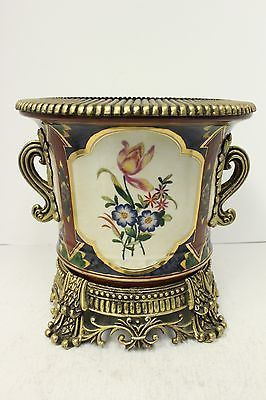 Navy Porcelain Round Pot with Beautiful Rose Flower Brass Ormolu Accents