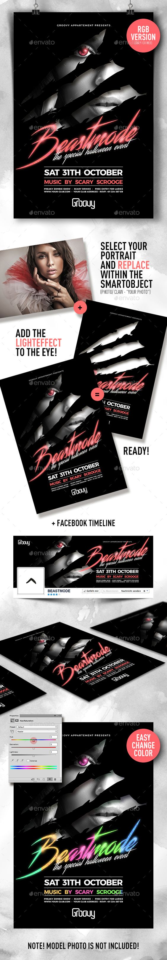 Beastmode Halloween Party Flyer | Flyers, Templates and Parties
