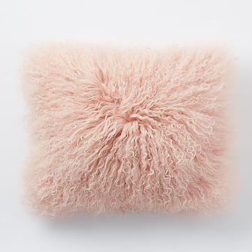 "Mongolian Lamb Pillow Cover - Rosette (12"" x 16""), mongolian lamb fur, cotton backing in Rosette, pillow insert sold separately, $69"
