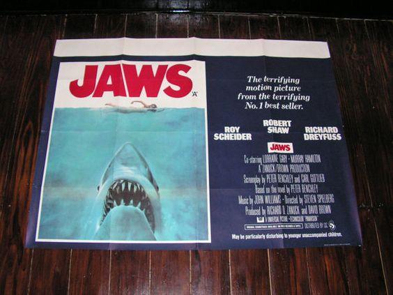 Rare Original Iconic 1975 Jaws Film Movie Poster UK Quad Steven Spielberg Richard Dreyfuss Roy Scheider Robert Shaw