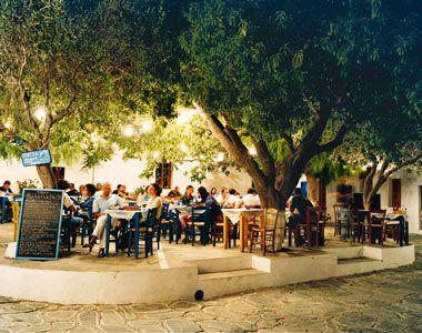 Greece, Europe: Alfresco dining in Piatsa Square, Folegandros