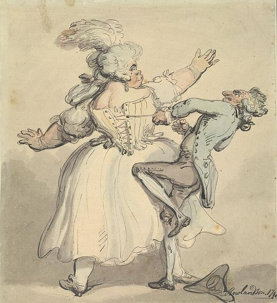 Slightly tighter. A cartoon of Thomas Rowlandson. 1790