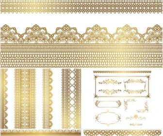 Gold lace vector