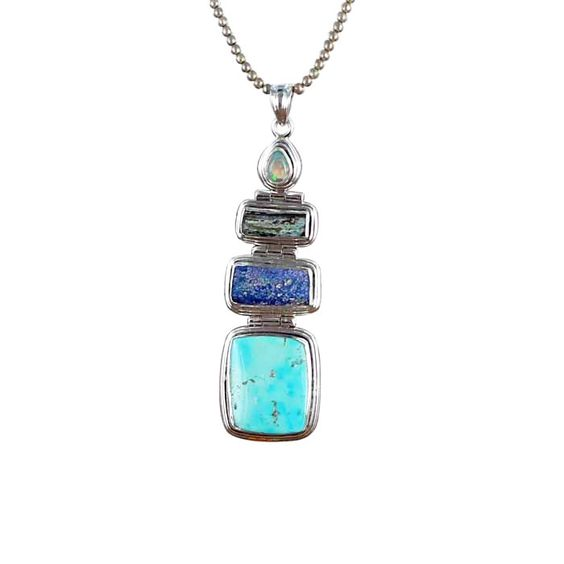 ANCIENT ROMAN GLASS Persian Turquoise Pendant Sterling from New World Gems