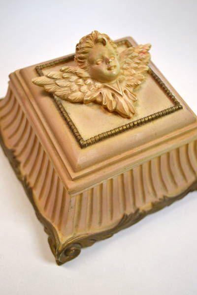 "Small Peach Lidded Composite Box with Cherub Face - 4.25"" Square"