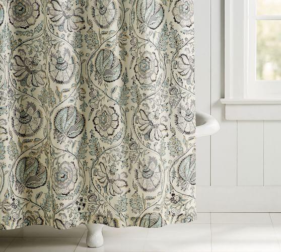 Haylie Print Organic Shower Curtain Pottery Barn Shower Curtain
