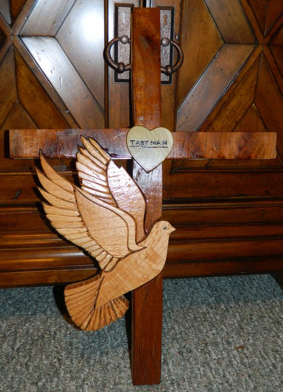 "Intarsia Cross with Dove - ""Last Name"": Wooden Wall Art 