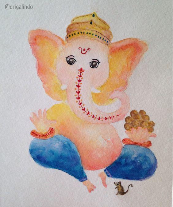 Ganesha by Adriana Galindo aquarela/watercolor, 13x18 cm commission: drigalindo1@gmail.com