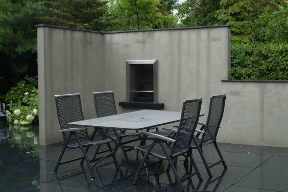 Tuinhaard bbq in strakke gemetselde muur ontwerp en aanleg hoveniersbedrijf van els cker tuin - Barbecue ontwerp ...