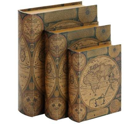 Old World Map Rustic Wood and Leather Book 3-Piece Box Set | 55DowningStreet.com