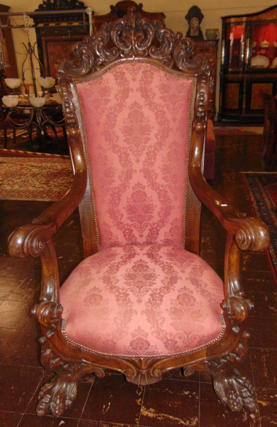 ~ Magnificent Antique Carved Oak Throne Chair ~ liveauctioneers.com