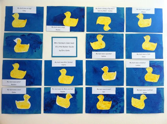 Eric Carle art display except let them make their own duck and write what it sees themselves