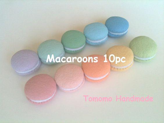 ETSY  Pretend food - Play food -  Felt food Tokyo Kawaii Sweets Macaroons Spring colors (10pc) on Etsy, $28.00