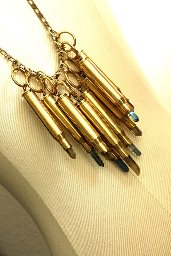 gorgeous necklace - Cascading Smoky and Blue Crystal Bullets by iadornu on Etsy