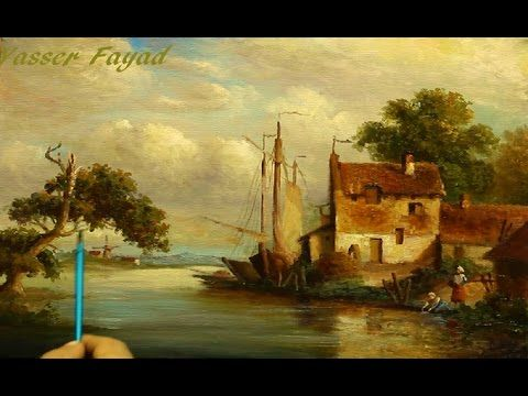 Tutorial Step By Step Oil Painting Landscape Using Only 5 Colors By Yasser Fayad ياسر فياض - YouTube