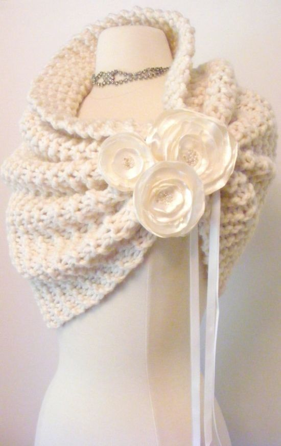 Wedding Shawl/Spring Wedding/Wedding Shrug/Ivory Shawl/Bridal Bolero/Ivory Sh...