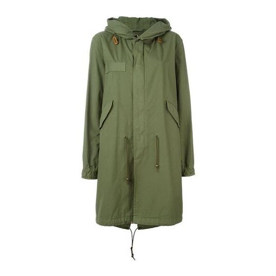 slim fit hooded midi parka Mr Mrs Italy feathers ($1,015) ❤ liked on Polyvore featuring outerwear, coats, slim fit coat, parka coat, green hooded coat, calf length coat and green parka