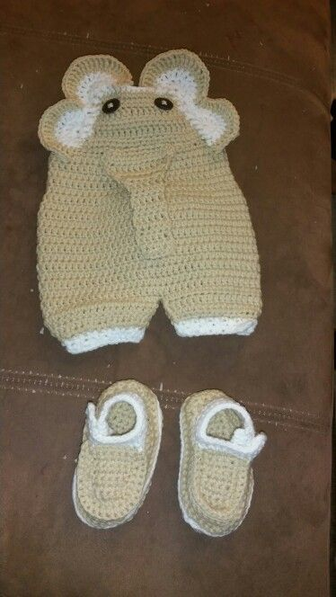 Crochet elephant overalls and booties