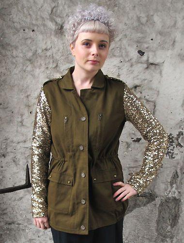 celine black bag online - Army Jacket Military Gold Sequin Sleeves Parka Green Khaki New ...