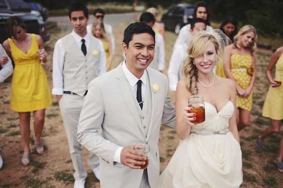 idea of what khaki vests from groomsmen and jacket for groom would look like (but with diff. color ties, dresses, etc.)