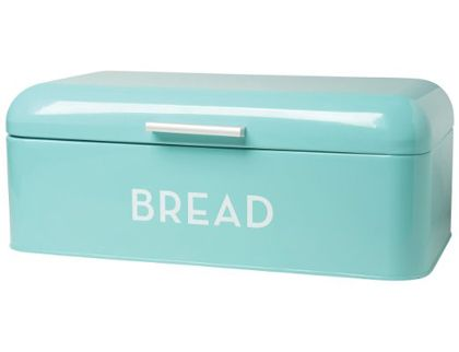 This sleek Turquoise Blue Bread Bin is the perfect storage solution for bread, buns, baguettes and bagels alike! The lid swings up easily and small holes at the back allow air to circulate. Thanks ...: