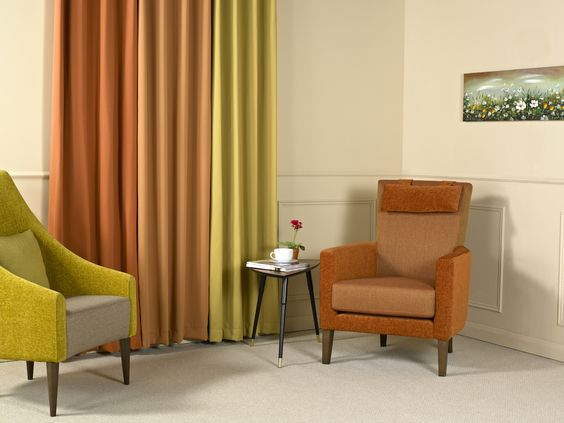 Chamonix for Waterproof Upholstery and Peru - a light bright way of adding colour to a room!