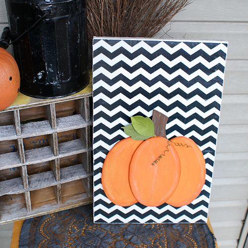 DIY Scroll Saw Pumpkin #Fall Decor #chevron background at @savedbyloves