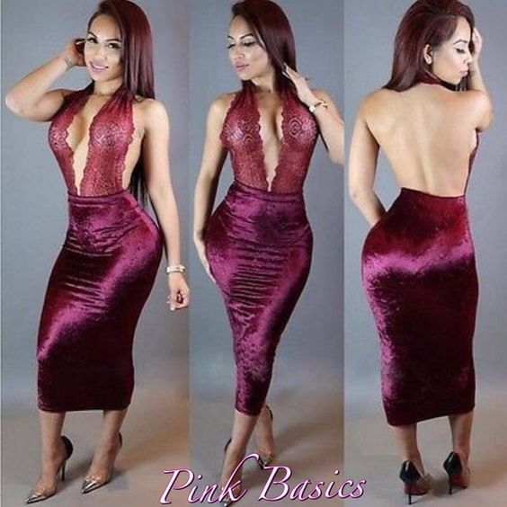 Lace Hatler Wrap Dress Color: Wine Red  Material: Corduroy Closure Type: Pullover/ Side Zipper  Wash&Care: Hand Wash Pattern Type: Patchwork Style: Sexy Neckline: V Neck Sleeve Length: Sleeveless Stretchability: Little Stretchable Length: Mid Calf Length ✨ PRICES ARE FIRM ✨ Dresses Midi