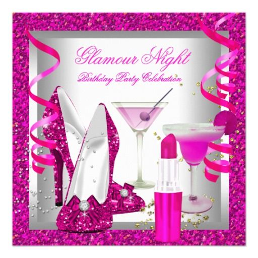 Glitter Hot Pink Glamour Night Martini Party Custom Invites