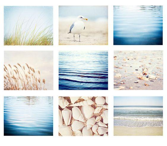 Items similar to Coral Ocean Beach Sea Prints Tiffany Blue White Custom Colors set of 4 each 5x7 ju3 on Etsy