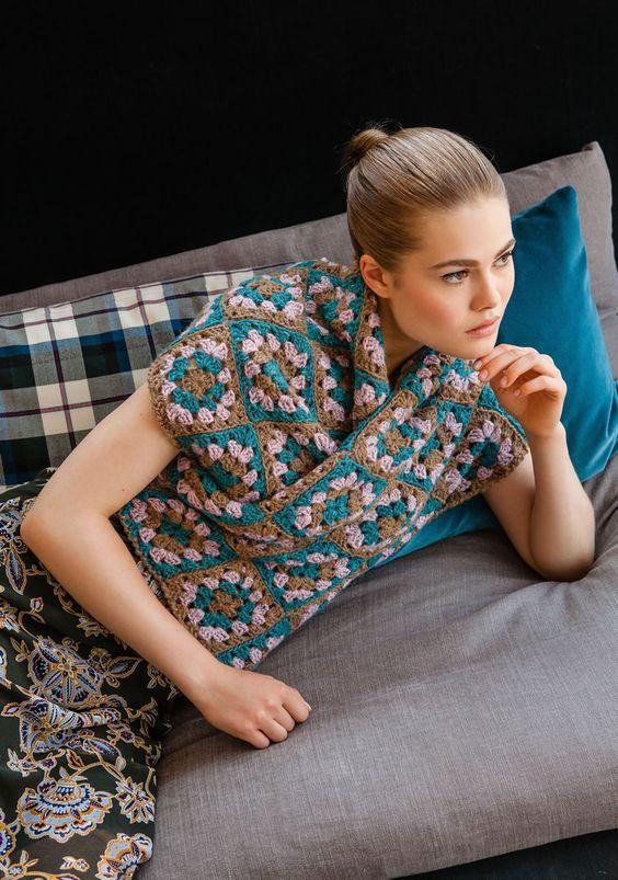 Lana Grossa SCHAL AUS QUADRATISCHEN MOTIVEN Ascot - FILATI Handstrick No. 62 (Home)  - Modell 62  | FILATI.cc WebShop