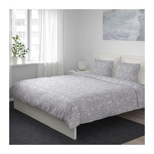 Jattevallmo Duvet Cover And Pillowcase S White Gray Twin Ikea At Home Furniture Store Duvet Cover Sets Duvet Covers