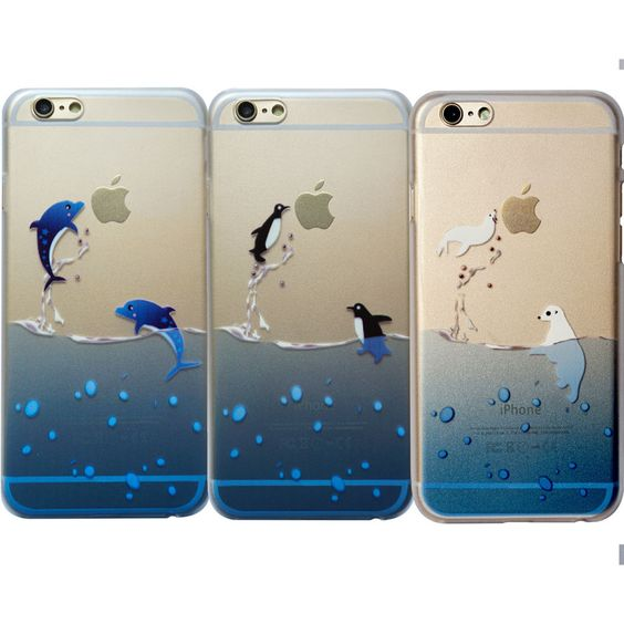 Penguin Dolphin Animals Clear Cute Mermaid Ariel Plastic Case iPhone and Samsung
