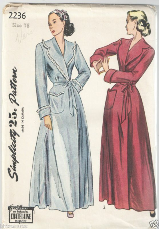 Image Result For 1940s Womens Quilted Robe A Line Floor Length Pattern Robe Pattern Dressing Gown Pattern Nightgown Pattern