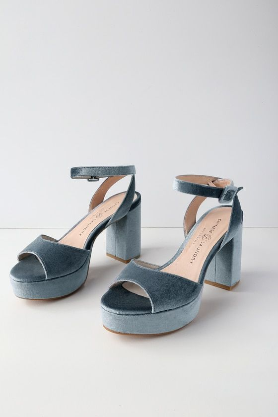 Chinese Laundry Theresa Steel Blue Velvet Platform Heels Mod And